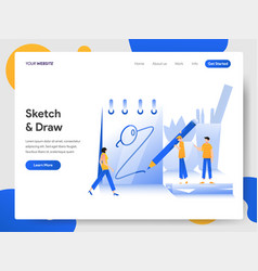 Landing page template sketching and drawing vector