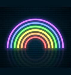 lgbt neon rainbow sign lgbt pride month lesbian vector image