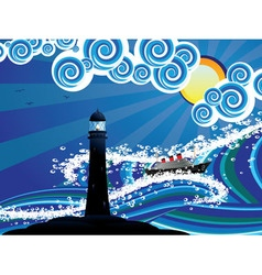Lighthouse and boat in sea3 vector