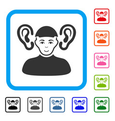 Listener guy framed happiness icon vector