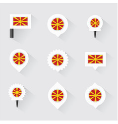 Macedonia flag and pins for infographic and map vector