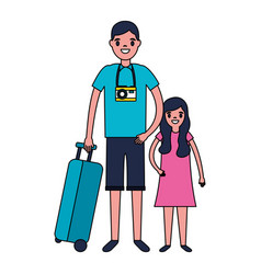 man and girl suitcase travel vacations vector image