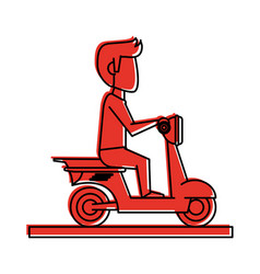 Man riding scooter icon image vector
