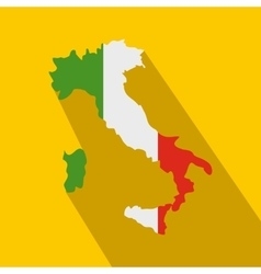 map italy with national flag icon flat style vector image
