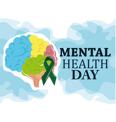 Mental health day colored human brain ribbon vector
