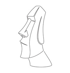 moai continuous line vector image