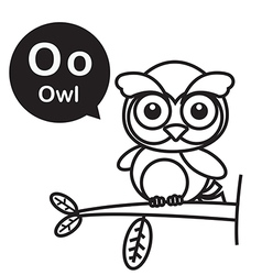 O owl cartoon and alphabet for children to vector