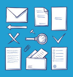 office paper and documentation icons set vector image