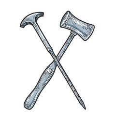 orbitoclast and hammer sketch engraving vector image