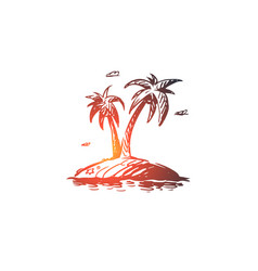 palm island tree summer beach concept hand vector image