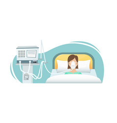Patient is lying in hospital on a vector