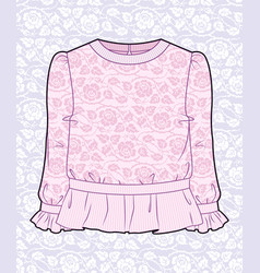 Pink blouse with roses vector