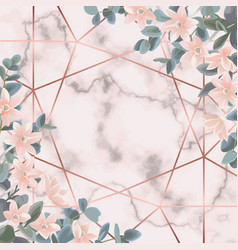 Pink marble and geometric background with vector