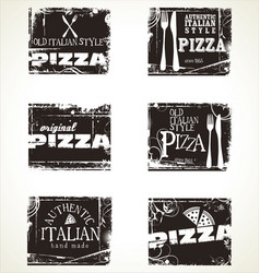 Pizza labels collection vector