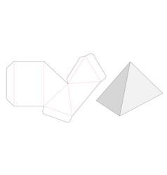 Pyramid shaped box die cut template vector