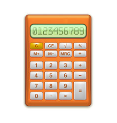 realistic electronic red calculator vector image vector image