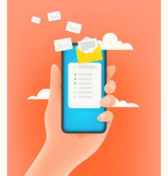 receiving electronic mail via mobile phone 3d vector image
