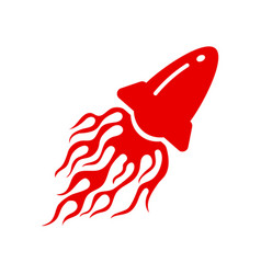 Red rocket launch emblem with blazing fire flame vector