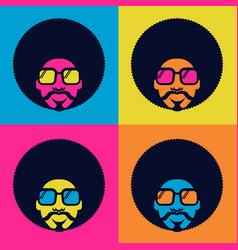 Retro disco dance poster 70s bright color vector