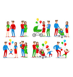 set characters family creation birth of vector image