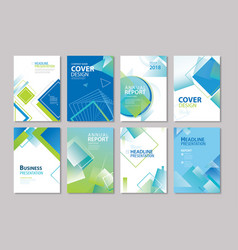 Set of blue cover annual report brochure design vector