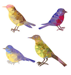 Set of polygonal birds silhouettes vector