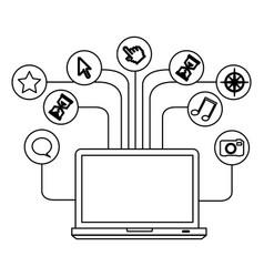 Silhouette tech laptop computer database server vector