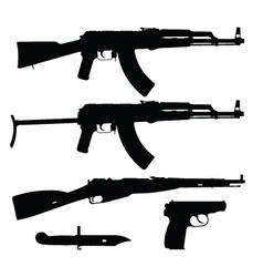 Silhouettes firearms vector