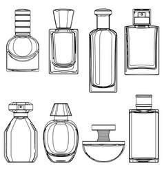 Sketch perfume bottles vector