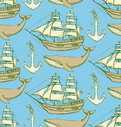 Sketch sea vintage style vector