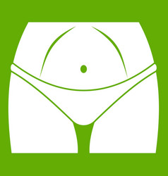 Slim woman body in panties icon green vector