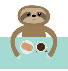 Sloth biscuit cookie and coffee cup teacup vector