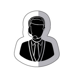 sticker monochrome silhouette man call center vector image