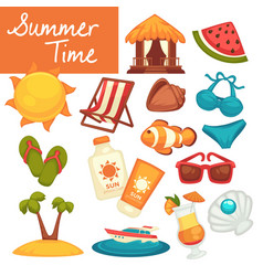 summer time objects vacation and holidays beach vector image