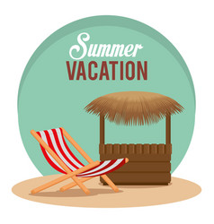 Summer vacations with beach chair vector