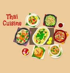 Thai cuisine dinner with asian dishes icon vector