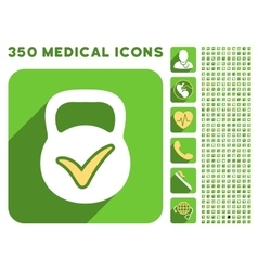Valid Mass Icon and Medical Longshadow Icon Set vector