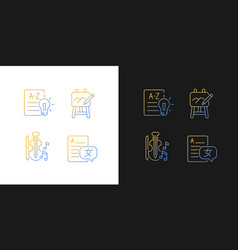 Variety of subjects in school gradient icons set vector
