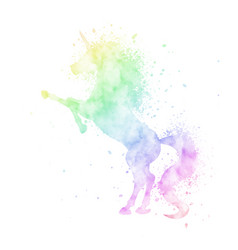 watercolor rainbow unicorn silhouette painting vector image
