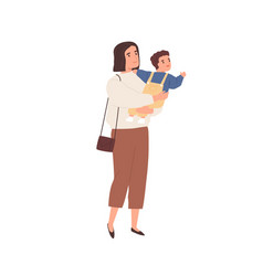 Young mother holding baby in hands and walking vector