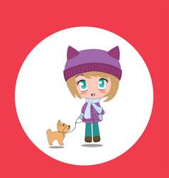 beautiful cartoon chibi girl with pet vector image vector image