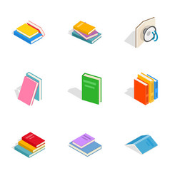 books icons isometric 3d style vector image