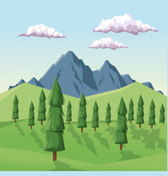 colorful background with daytime landscape of vector image