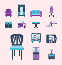 furniture interior icons home design modern living vector image vector image