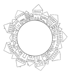 Houses doodles in circle vector image