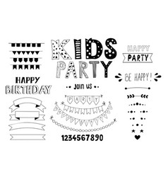 kids party lettering party design elements vector image vector image