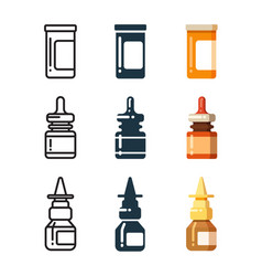 medicine bottles and box for pills line vector image