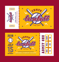 template for baseball ticket vector image vector image