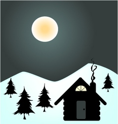 winter night in cabin vector image vector image
