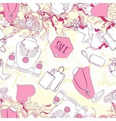 Seamless pattern with jewelry and fashion vector image